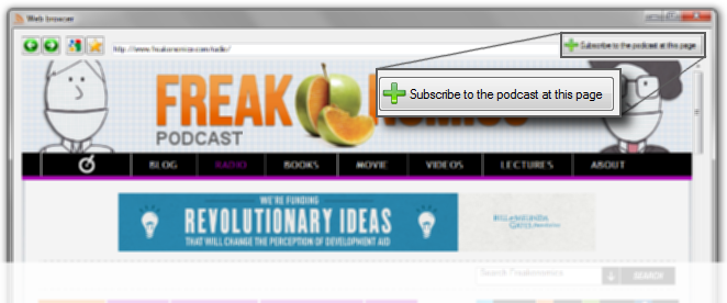 To subscribe to your favorite podcast, navigate to its website and click 'Subscribe to the podcast at this page'. <br>HermesPod auto-discovery system will handle the rest